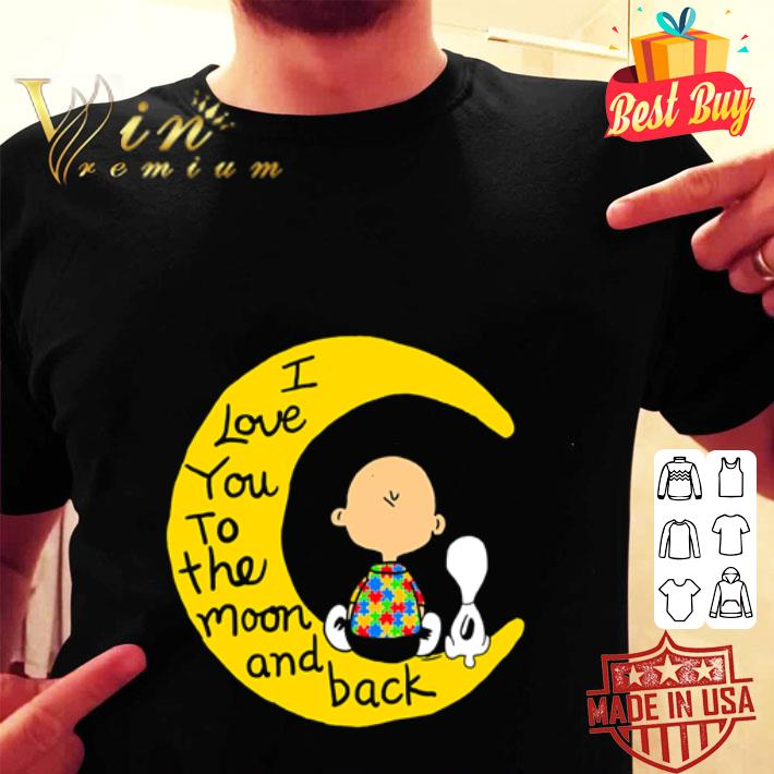 - Snoopy and charlie brown autism I love you to the moon and back shirt