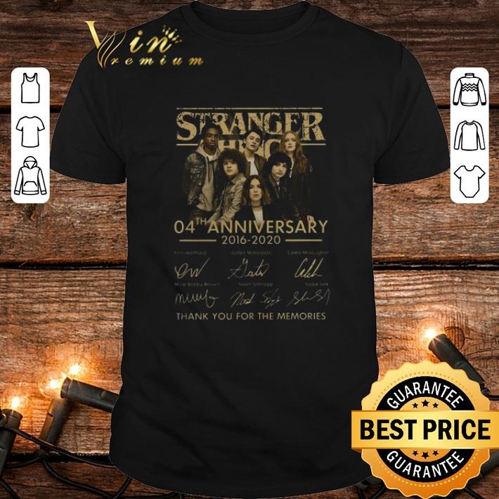 - Stranger Things 04th anniversary 2016-2020 signatures thank you for the memories shirt