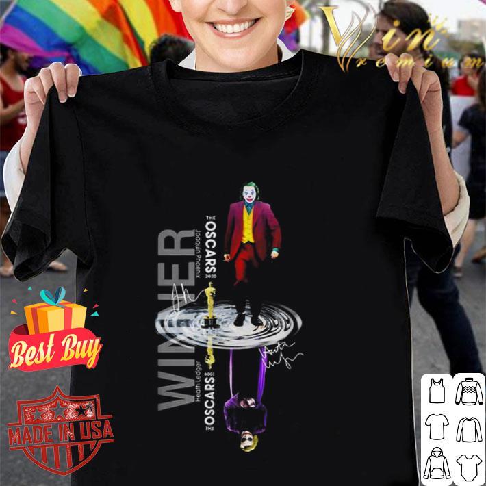 Winner Joaquin Phoenix The Oscars 2020 signatures Heath Ledger shirt