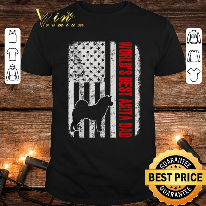 - World's Best Akita Dad American Flag shirt