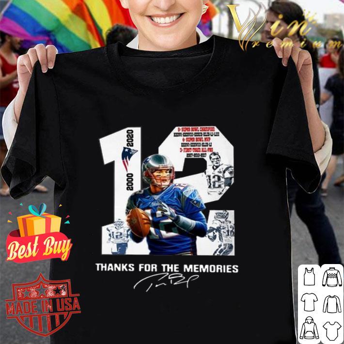 - 12 Tom Brady New England Patriots 2000 2020 signatures shirt