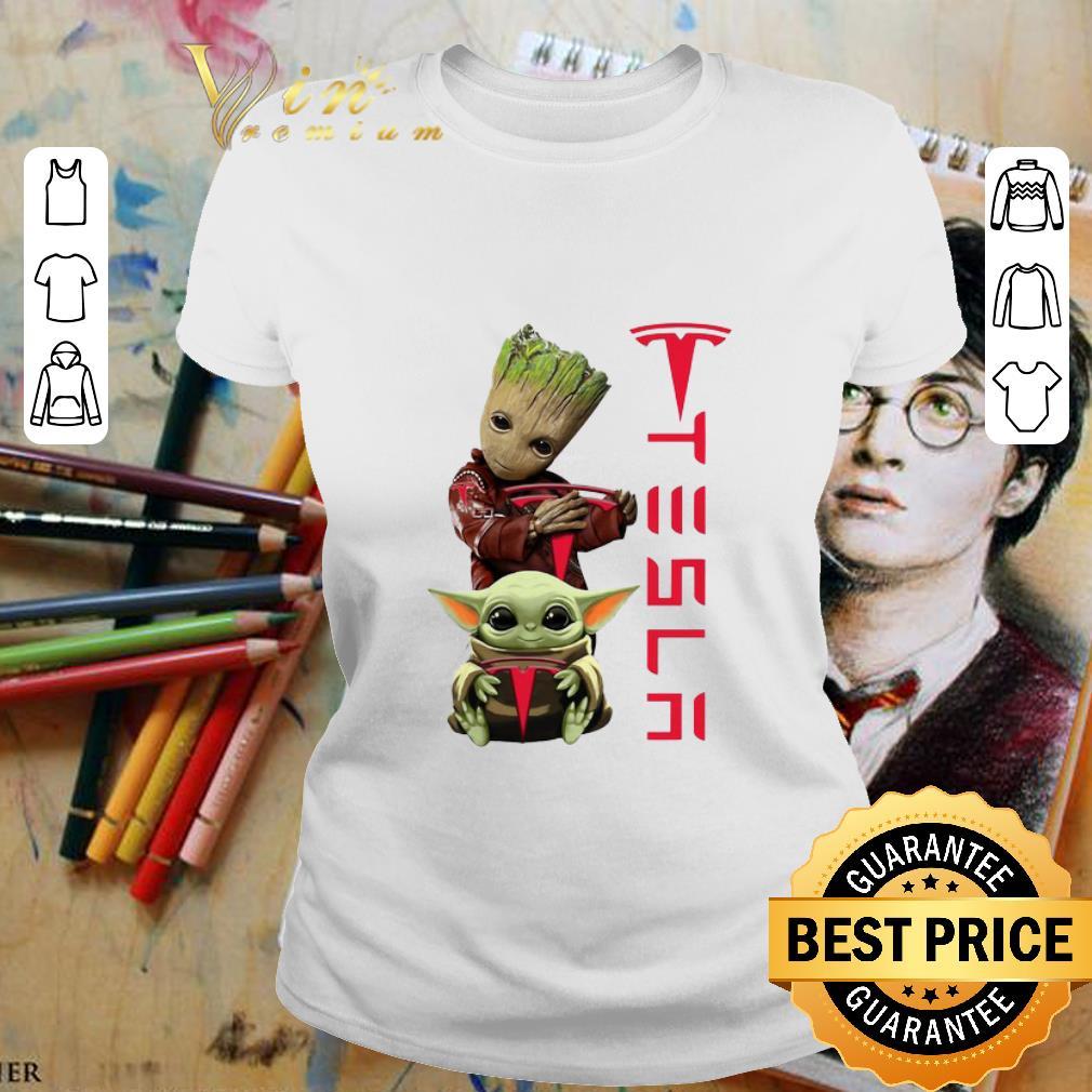 - Baby Groot And Baby Yoda Tesla Star Wars shirt