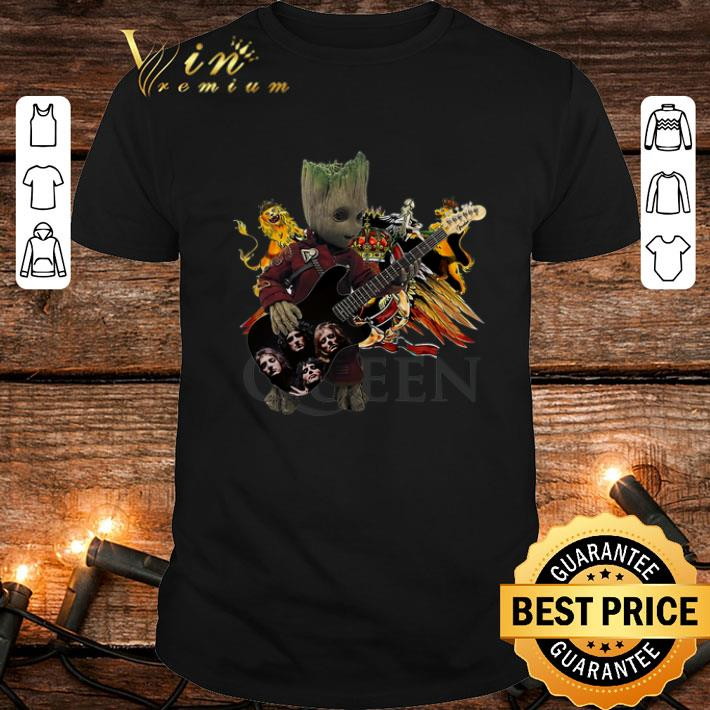 - Baby Groot Playing Guitar Queen Logo Marvel shirt