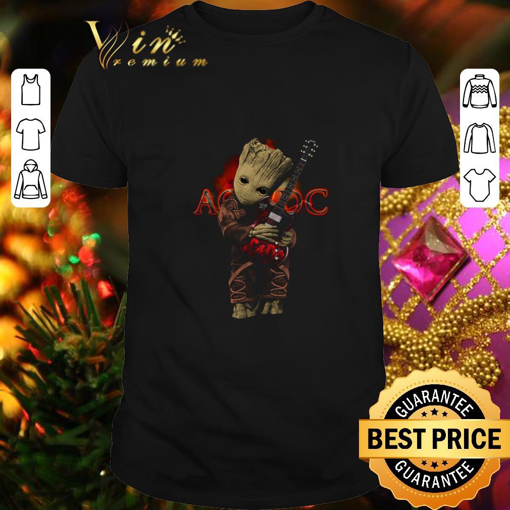 - Baby Groot hug ACDC logo guitarist shirt