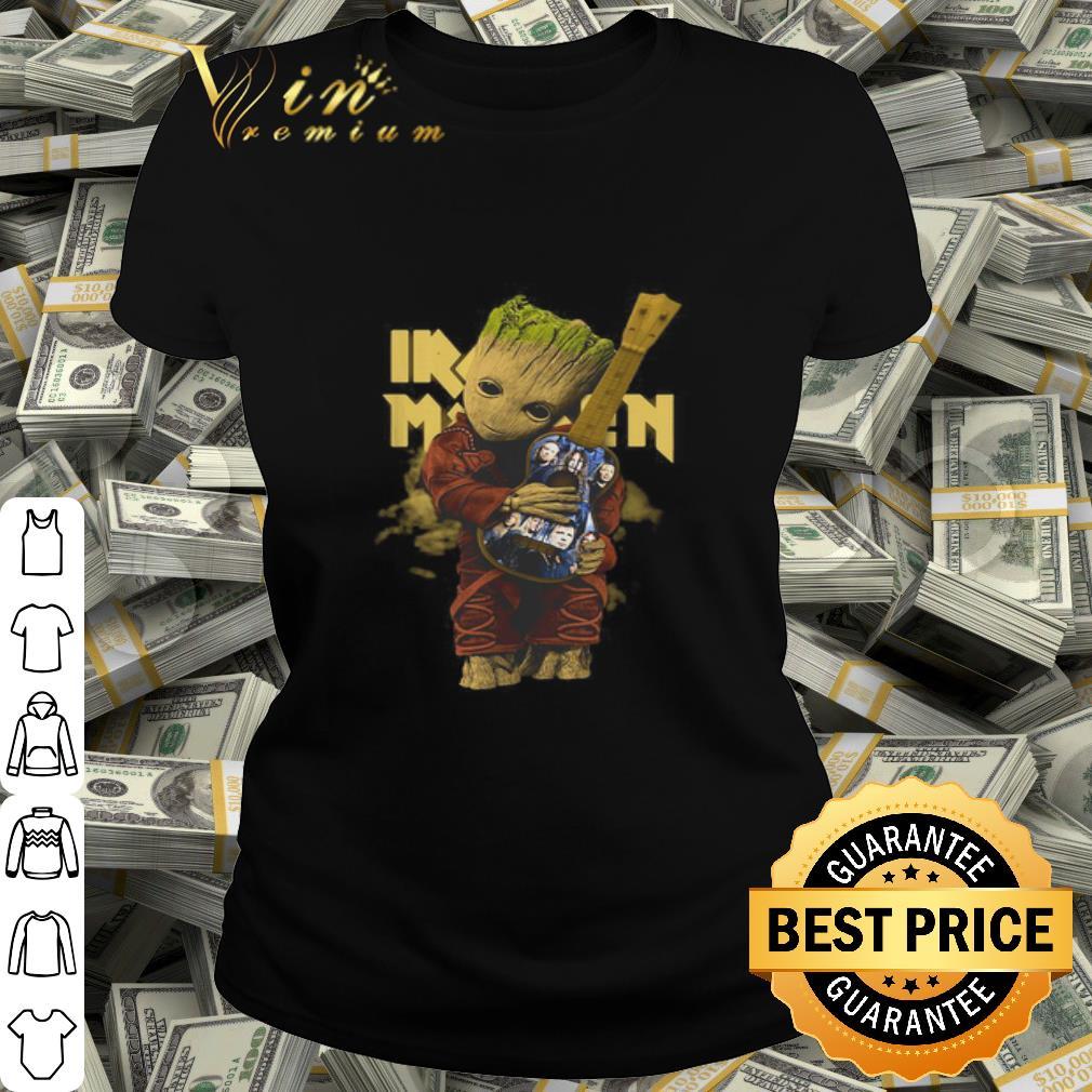 - Baby Groot hug Iron Maiden guitar shirt