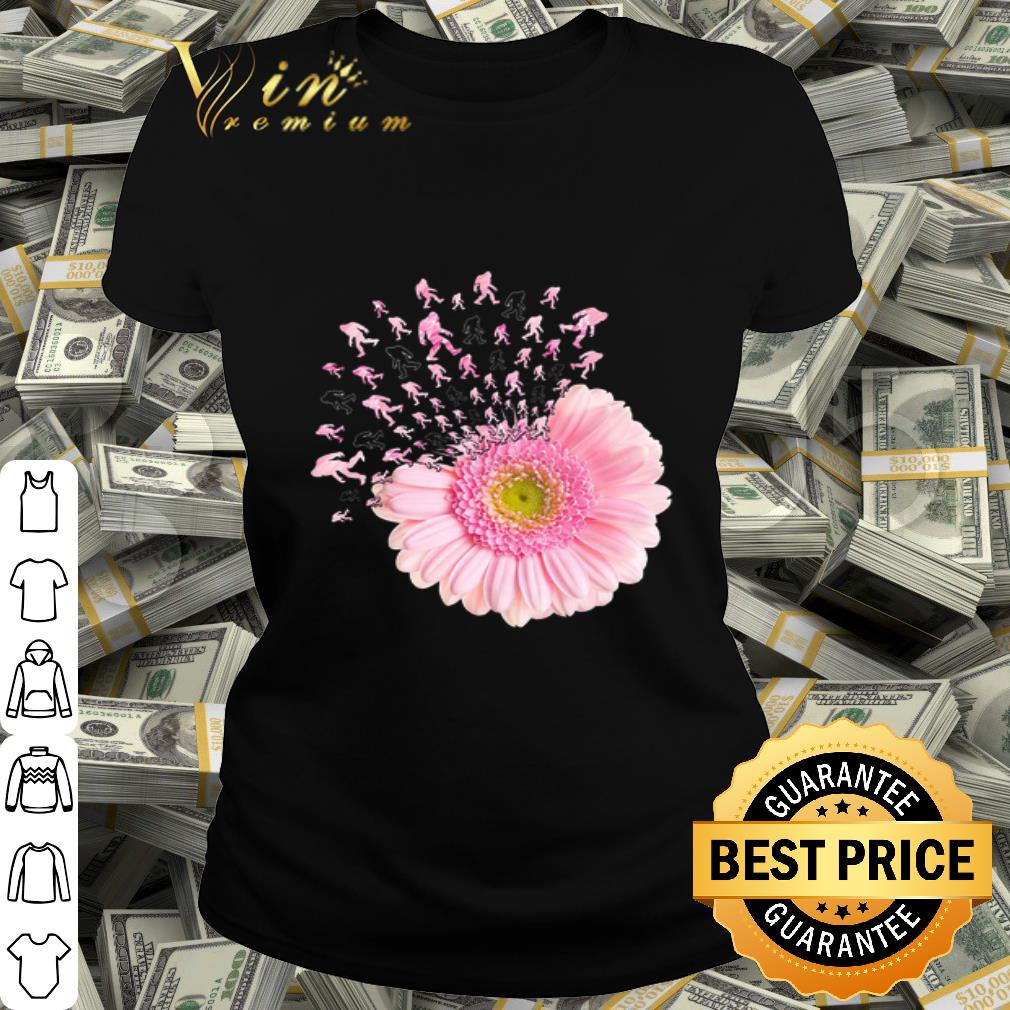 - Bigfoots and pink Daisy Flower shirt