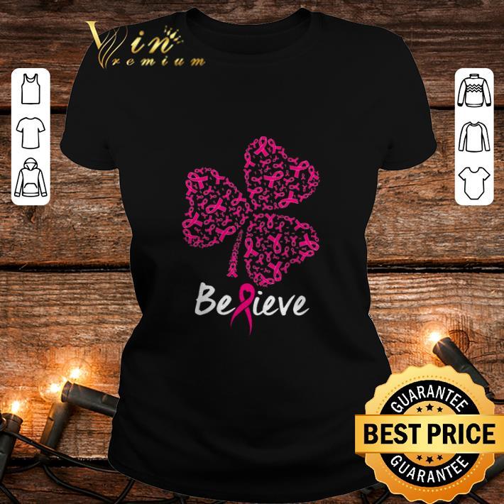 - Breast cancer Awareness believe shamrock St. Patrick's day shirt