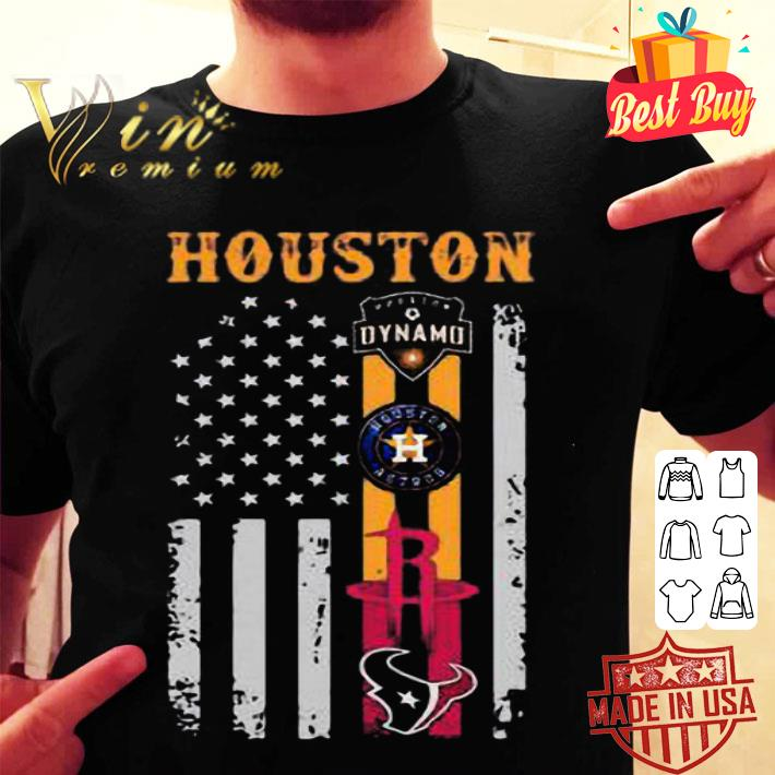 Houston Dynamo Astros Rockets and Texas American flag shirt