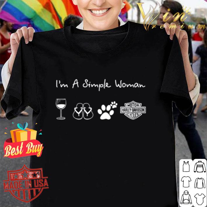 I'm a simple woman wine flip flop dog paw Harley Davidson logo shirt