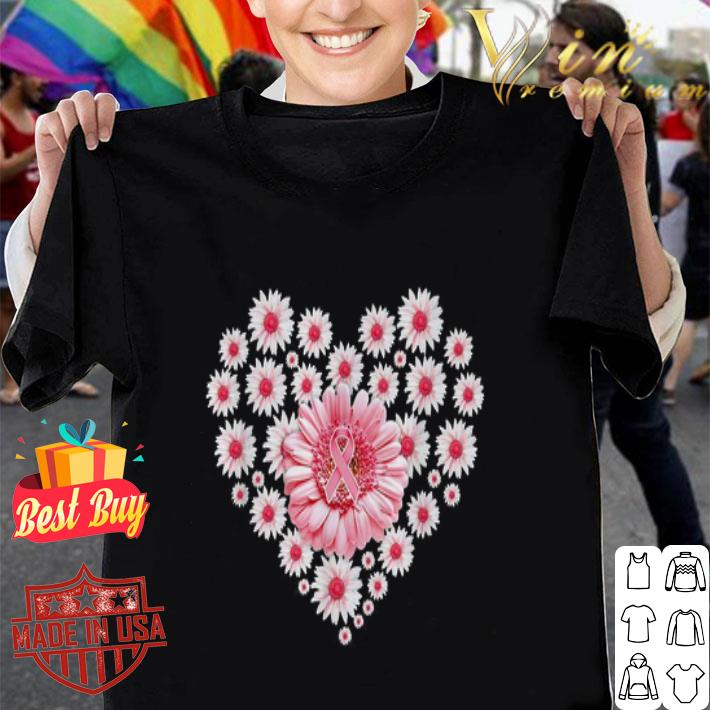 - Love Daisy flowers pink Breast Cancer heart shirt