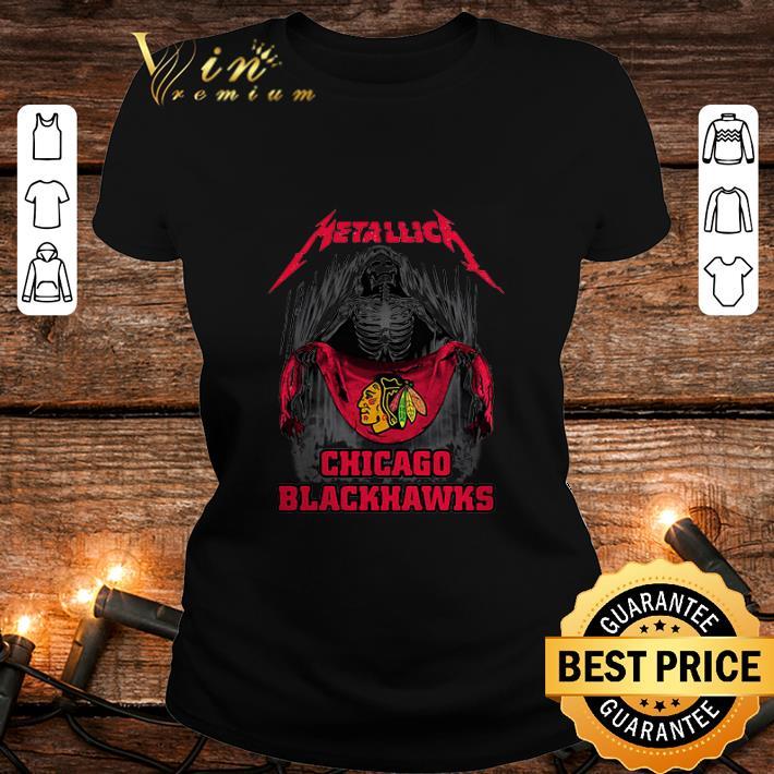 - Metallica Skull mashup Chicago Blackhawks flag shirt