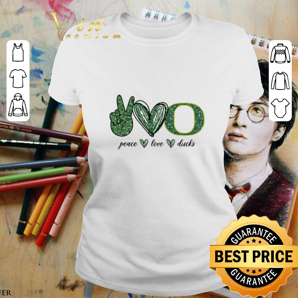 Peace Love Oregon Ducks logo shirt 2