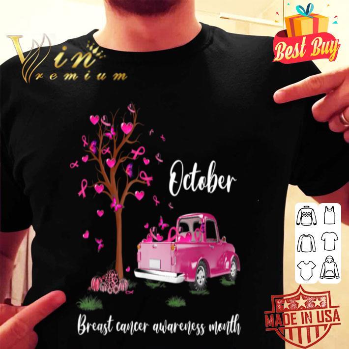 - Pink Truck Pumpkin October Breast Cancer Awareness Month shirt