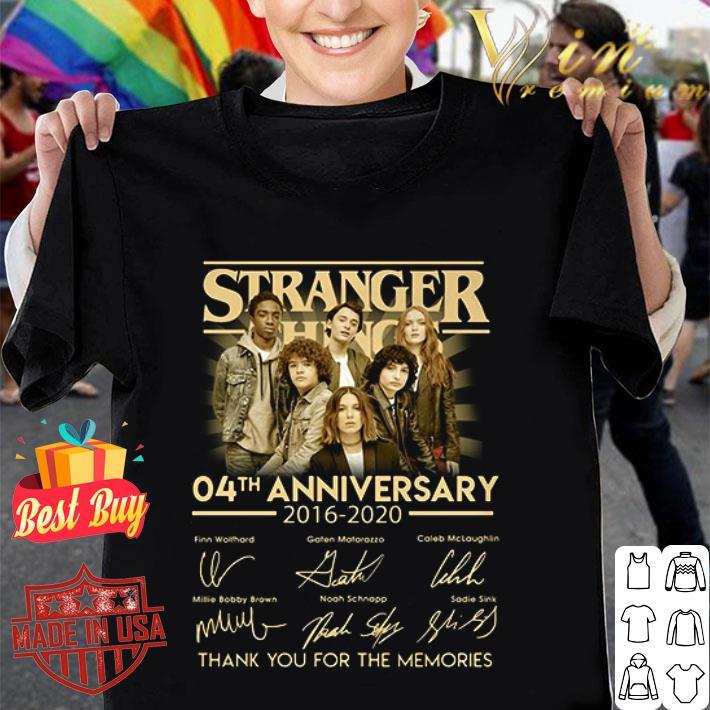 - Stranger Things 04th anniversary 2016 2020 signatures shirt