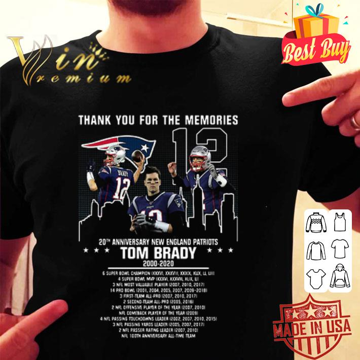 Thank you for the memories Tom Brady 20th anniversary New England Patriots shirt