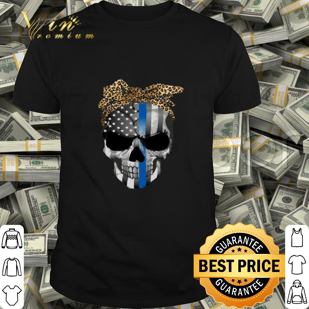 Thin Blue Line Skull Leopard Bow shirt