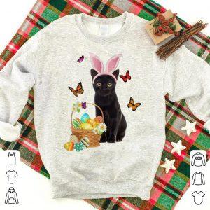 Black Cat Bunny Hat Rabbit Easter Eggs shirt