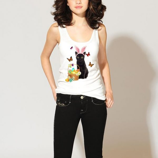 Black Cat Bunny Hat Rabbit Easter Eggs shirt