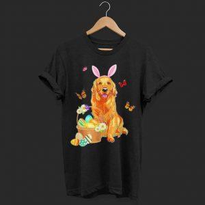 Golden Retriever Bunny Hat Rabbit Easter Eggs shirt