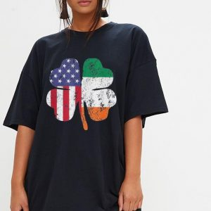 Irish American Flag Shamrock St Patricks Day shirt 2