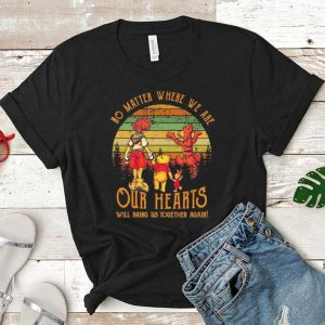 My Friends Tigger & Pooh No matter where we are our hearts sunset shirt