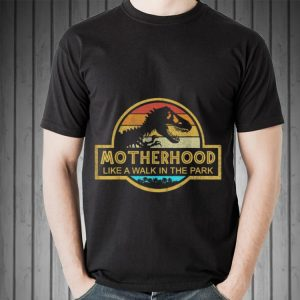 Motherhood Like A Walk In The Park Mother day Retro Sunset shirt 1