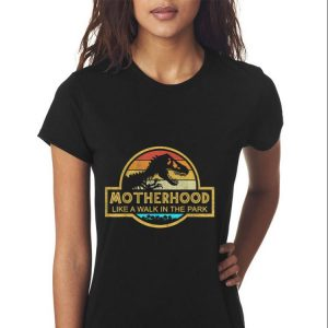 Motherhood Like A Walk In The Park Mother day Retro Sunset shirt 2