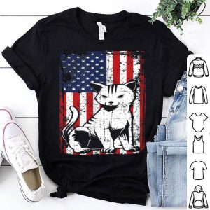 4th of July American Flag Kitten Cat shirt
