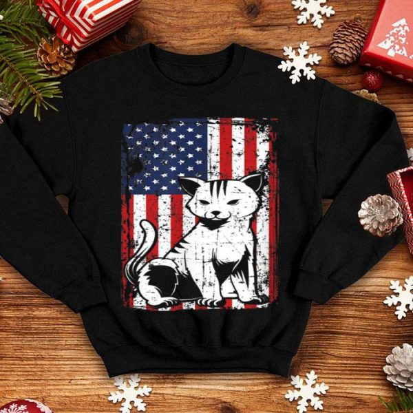4th of July American Flag Kitten Cat shirt