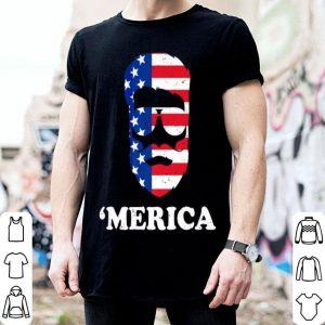 4th of July 'Merica Beard American Flag Patriotic shirt