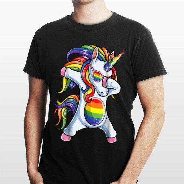 Dabbing Unicorn Gay Pride Lgbt Lesbian Rainbow Flag shirt