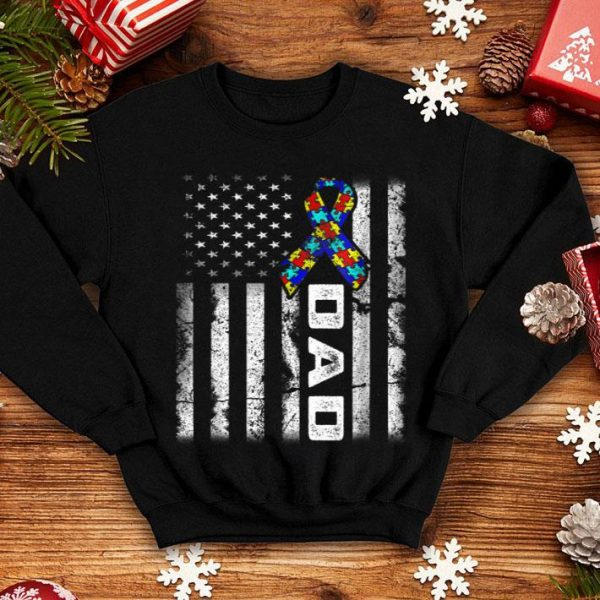 Dad Autism Awareness American flag Father Day shirt