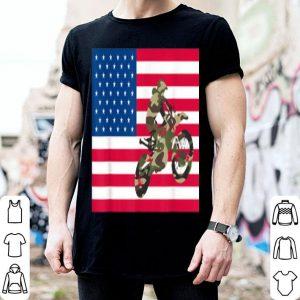 Dirt Bike American Flag Camo Silhouette 4th of July shirt