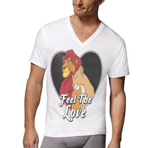 Disney Lion King Simba Nala Feel The Love Heart shirt