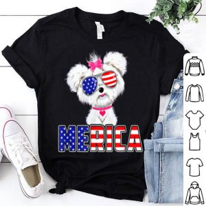 Merica Maltese 4th Of July USA Flag Patriotic Dog shirt