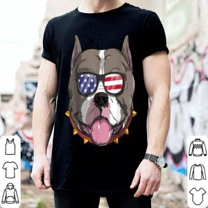 Pitbull Dog Patriotic USA 4th of July American shirt