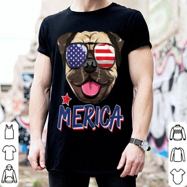 Pug Dog Merica Patriotic American Sunglasses 4th Of July Usa shirt