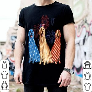 Red White Blue Golden Retriever USA Flag 4th Of July shirt