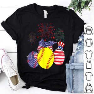 Red White Blue Softball USA Flag Firework 4th Of July shirt