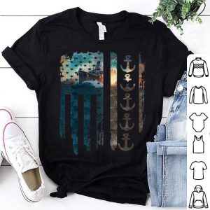 US Navy American Flag With Battleship shirt