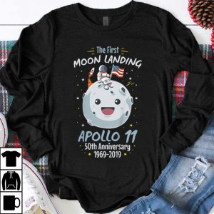 Awesome The First Moon landing Apollo 11 Cartoon Astronaut American Flag shirt