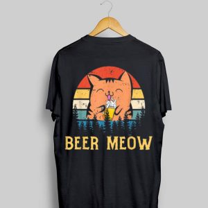 Beer Meow Cat Kitty Drinking Alcohol Vintage shirt