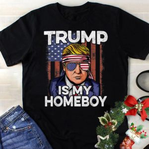 Best price Donald Trump Is My Homeboy Glasses Headband Usa Flag 4th Of July shirt