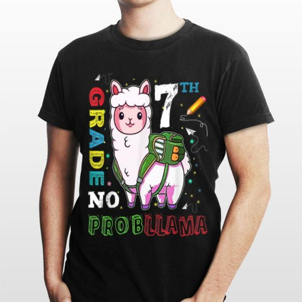 First Day Of 7th Grade No Probllama Llama Back To School shirt