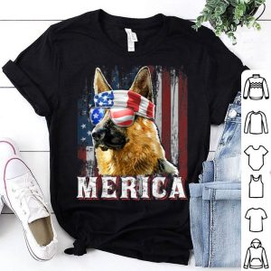 Merica German Shepherd Dog 4Th Of July American Flag shirt