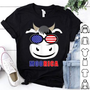 Moorica Patriotic Cow Farm Merica Heifer US Flag 4th of July shirt