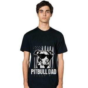 Pitbull Dad American Flag Sunglass hoodie