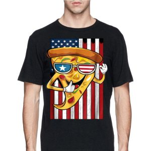 Pizza With Sunglasses USA American Flag 4th July shirt