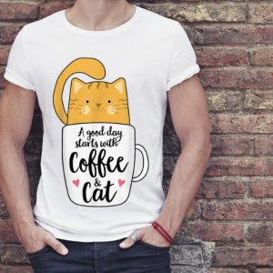 Premium A Good Day Starts With Coffee And Cat shirt 2