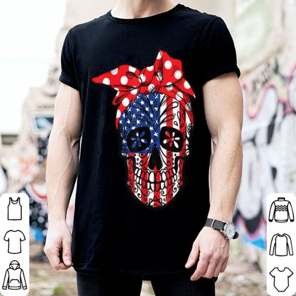 Skull American Flag 4th of July USA shirt